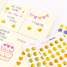 6 Sheets/Set 330PC Sticker Yellow Emoji Smile Face for Notebook Albums Message DIY Cute Scrapbooking Stickers Stationery