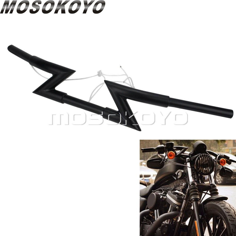 "1/"" Steel T-Bar Harley Chopper Handlebars Drag 6/"" Rise Gloss Black"