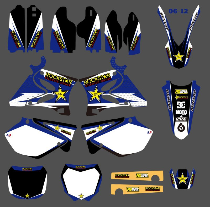 GRAPHICS BACKGROUNDS DECALS STICKERS Kits for Yamaha YZ125 YZ250 2002 03 04 05 06 07 08