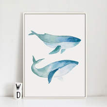 Bianche Wall Simple Watercolor Whale A4 Canvas Painting Art Print Poster Picture Paintings Home Decoration, Decoration