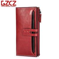 GZCZ Genuine Leather Women Long Wallet Fashion Red Zipper Hasp Multi Card Purse Bag 2017 New
