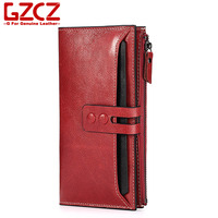 GZCZ Genuine Leather Women Long Wallet Fashion Red Zipper Hasp Multi Card Purse Bag 2017 New