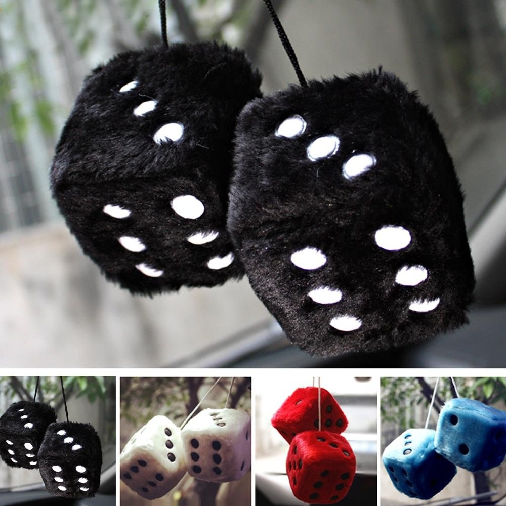 1 Pair Hot Sale Funny Cute Fuzzy Dice Dots Rear View Mirror Hangers Vintage Car Auto Accessories Brand New And High Quality