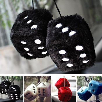 1 Pair Hot Sale Funny Cute Fuzzy Dice Dots Rear View Mirror Hangers Vintage Car Auto Accessories Brand New and High Quality цена 2017