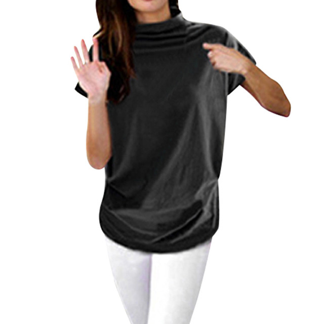 7156cf74ccf Women Casual Turtleneck Short Sleeve Cotton girl Solid Casual Blouse Top  Shirt female Plus Size Solid girl clothing fashion