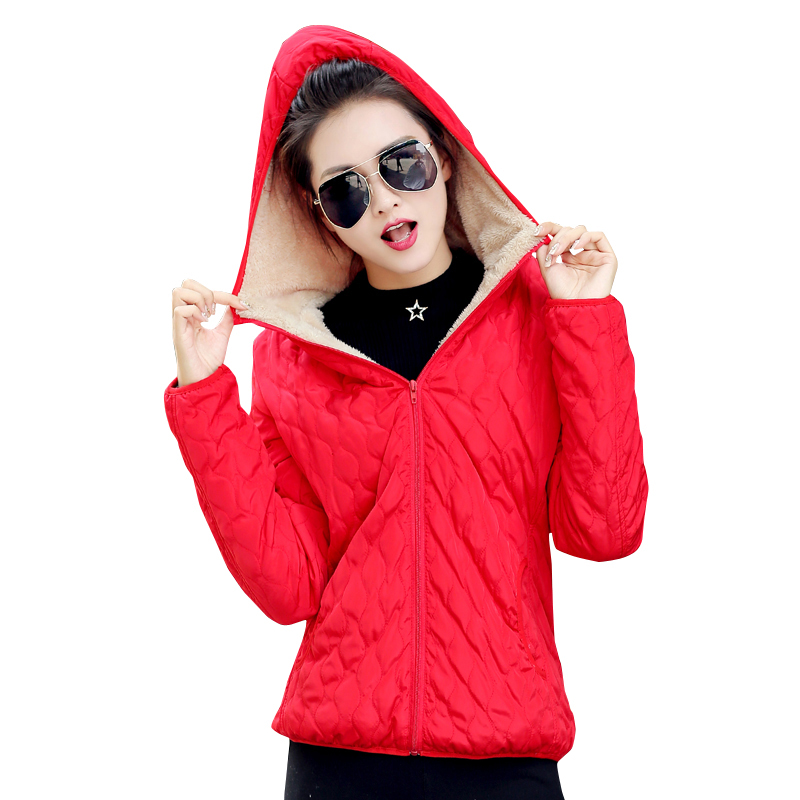 2019 women winter jacket hooded fleece solid coat spring thin outerwear female short parka zipper jaqueta feminina