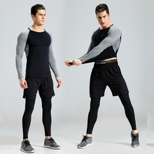 2018 New 3Pcs Running Set Men Snake Quick Dry Mens Sport Suit Fitness Tight Gym Clothing