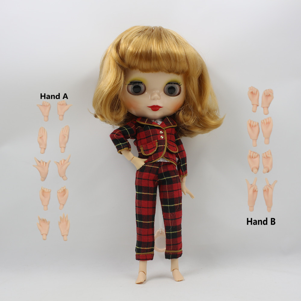 Free shipping Nude factory Blyth Doll Male Romantic Shota Golden hair Suitable For DIY Changing Toy цена и фото