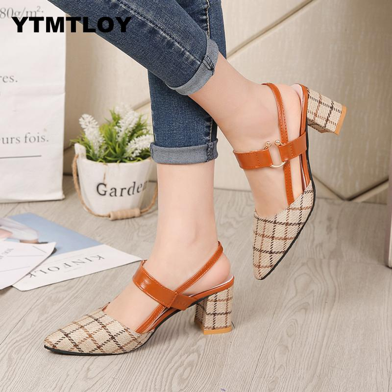 Lady Shoes New Hollow Coarse Sandals High-heeled Shallow Mouth Pointed Pumps Work Women Female Sexy High Heels Zapatilla Lattice