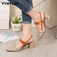 Lady Shoes New Hollow Coarse Sandals High-heeled Shallow Mouth Pointed Pumps Wor
