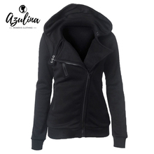 AZULINA Female Hoodies Sweatshirt Autumn Winter Long Sleeve Zipper Hooded Sweatshirt Warm Women Tracksuit Streetwear Black White