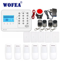 Wofea WIFi PSTN GSM alarm system 3 in 1 touch keyboard APP control home security alarm system set with Russian ,English ,spanish