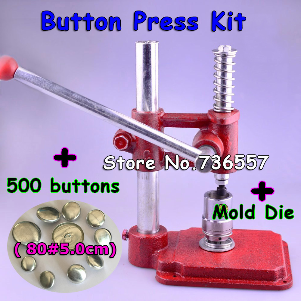 New Fabric Covered Button Making Machine Handmade Fabric Self Cover Button Press Mold Tools 500 pcs buttons with 80#5.0cm mold все цены