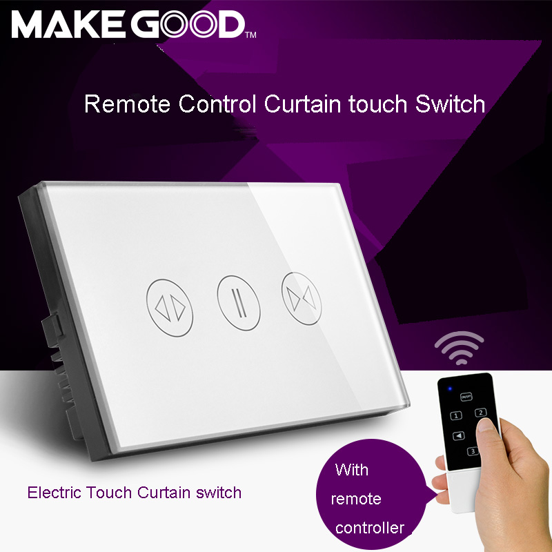 Makegood US Luxury Galss Panel Electric Touch Curtain/Shutter Wall Switch with B