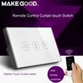 Makegood EE.UU. Lujo Panel Galss Táctil Cortina Eléctrica/Obturador Interruptor de Pared con indicador de luz de Fondo + Mando a distancia a través de RM pro