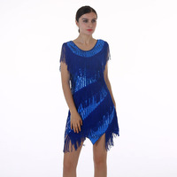 New Europe Brand Two Sides Sequined Dresses For Sale Tassel Latin Dance Night Club Sequin Tassel