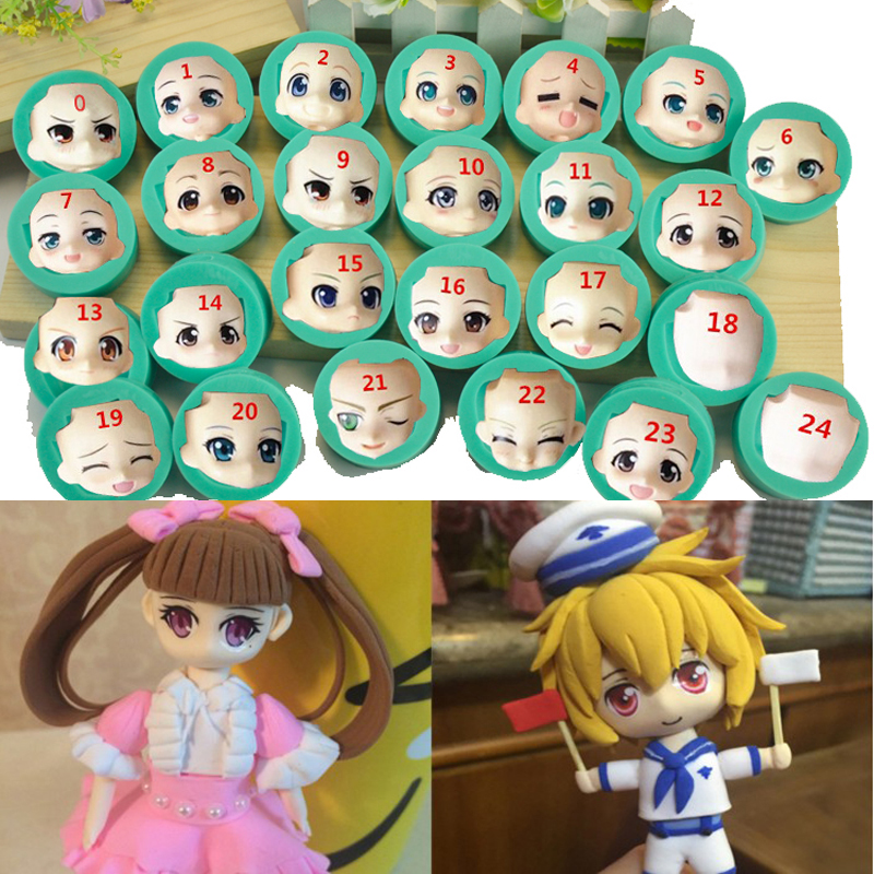 25PCS Set Doll face polymer clay mold Fondant Cakes decoration mold or Chocolate mold