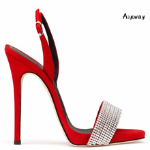 Aiyoway Women Shoes Peep Toe High Heels Sandals Ankle Buckle Straps Spring Summer Ladies Party Wedding Red Silver Black
