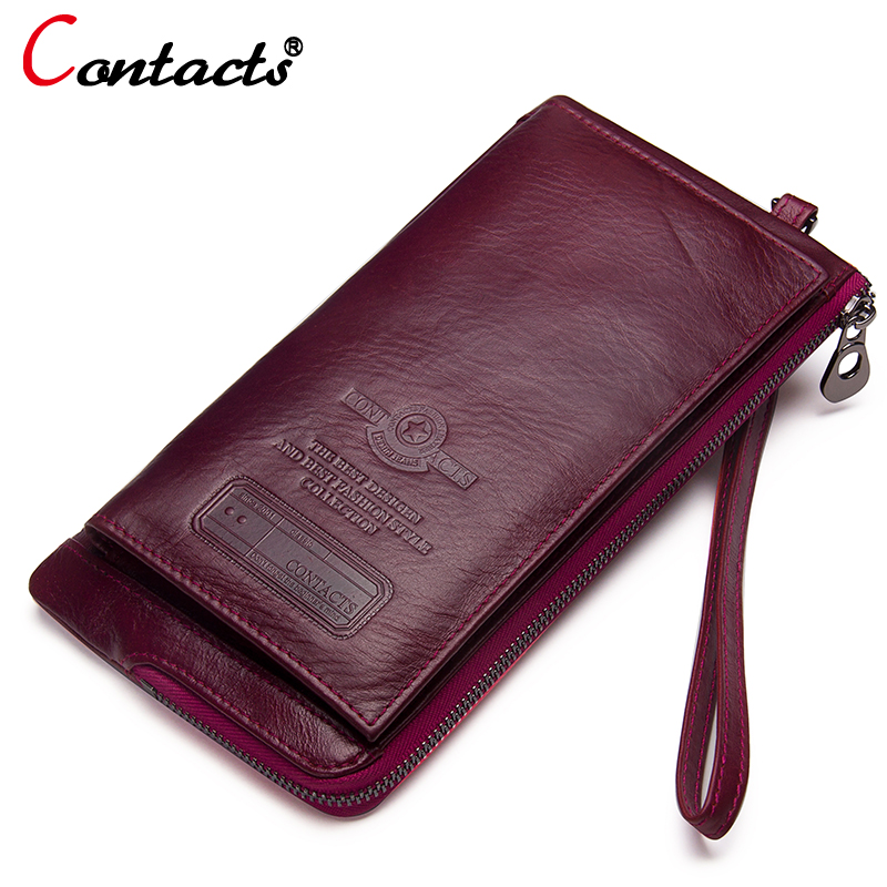 купить CONTACT'S wallet women genuine leather women purses female clutch coin purse phone money bags card holder long leather wallet по цене 1516.34 рублей