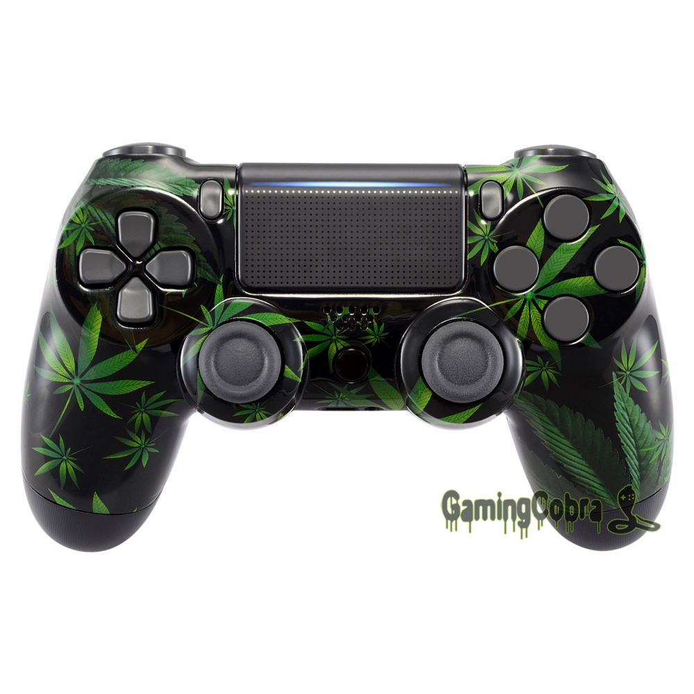 Green Weeds Front Housing Shell Faceplate for PS4 Slim / for PS4 Pro Controller (CUH-ZCT2 JDM-040 JDM-050 JDM-055) -SP4FT05