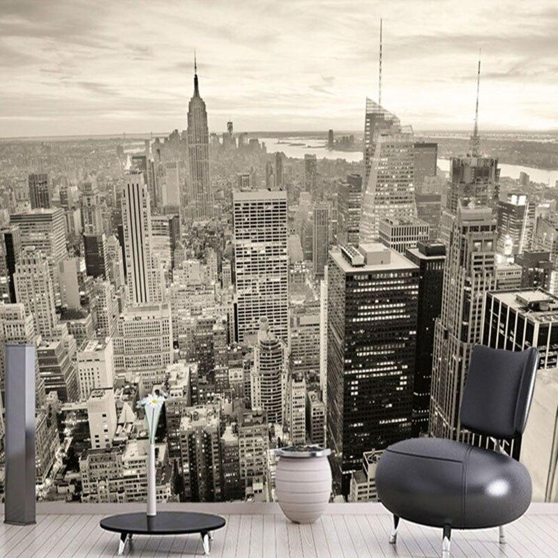 New York Schwarz Und Wei Stadt Landschaft Tapete Anpassung Esszimmer  Wohnzimmer Bro D Wandbild Tapete With New York Skyline Tapete.