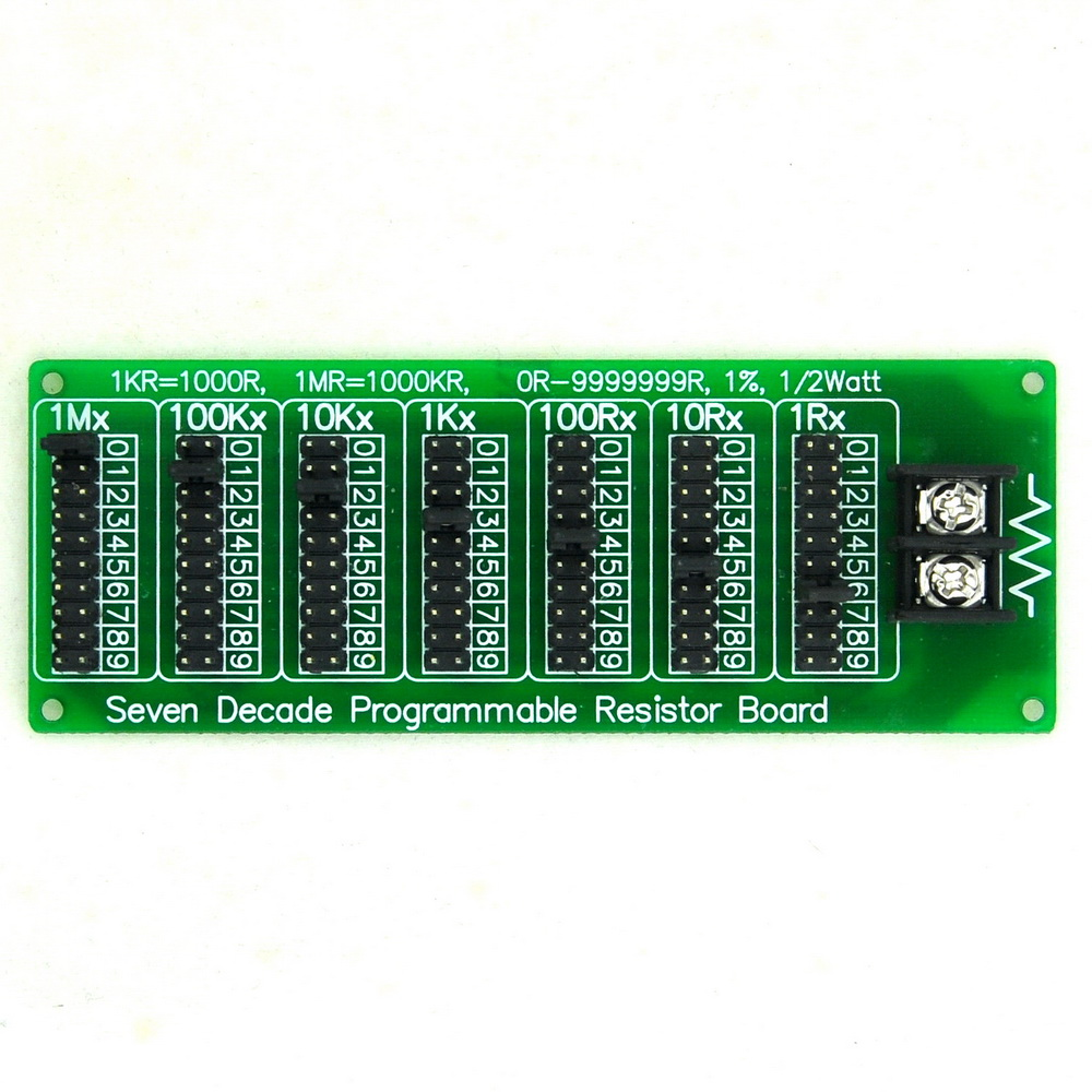 1R - 9999999R Seven Decade Programmable Resistor Board, Step 1R, 1%, 1/2 Watt.1R - 9999999R Seven Decade Programmable Resistor Board, Step 1R, 1%, 1/2 Watt.