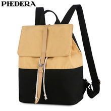 PHEDERA New Fashion Young Girl Backpack Casual Canvas Outdoor Travel Women Rucksack Pink Beige Female School Shoulder Bags 2019