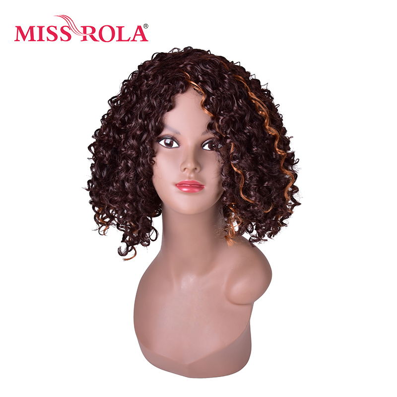 Miss Rola 13inch Ombre Brown Afro Kinky Curly Hair Medium Length Synthetic Women Wigs High Temperature Fiber Daily Wig