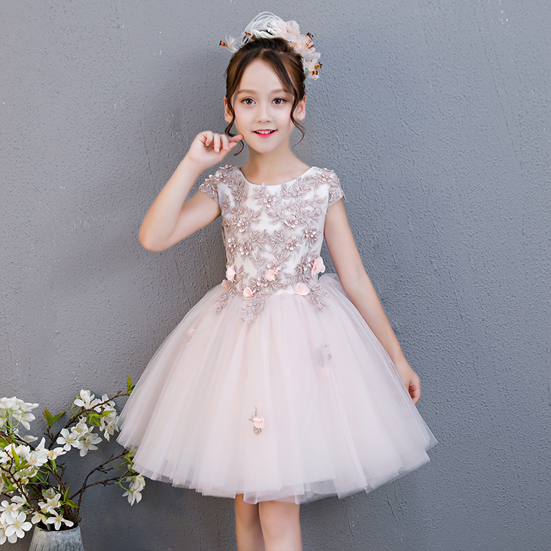 1e41c55cd87dd Baby Girls Summer Lace Princess Party Dresses Children Kids Flowers  Birthday Wedding Dress For 3-15 Years Kids Causal Clothing