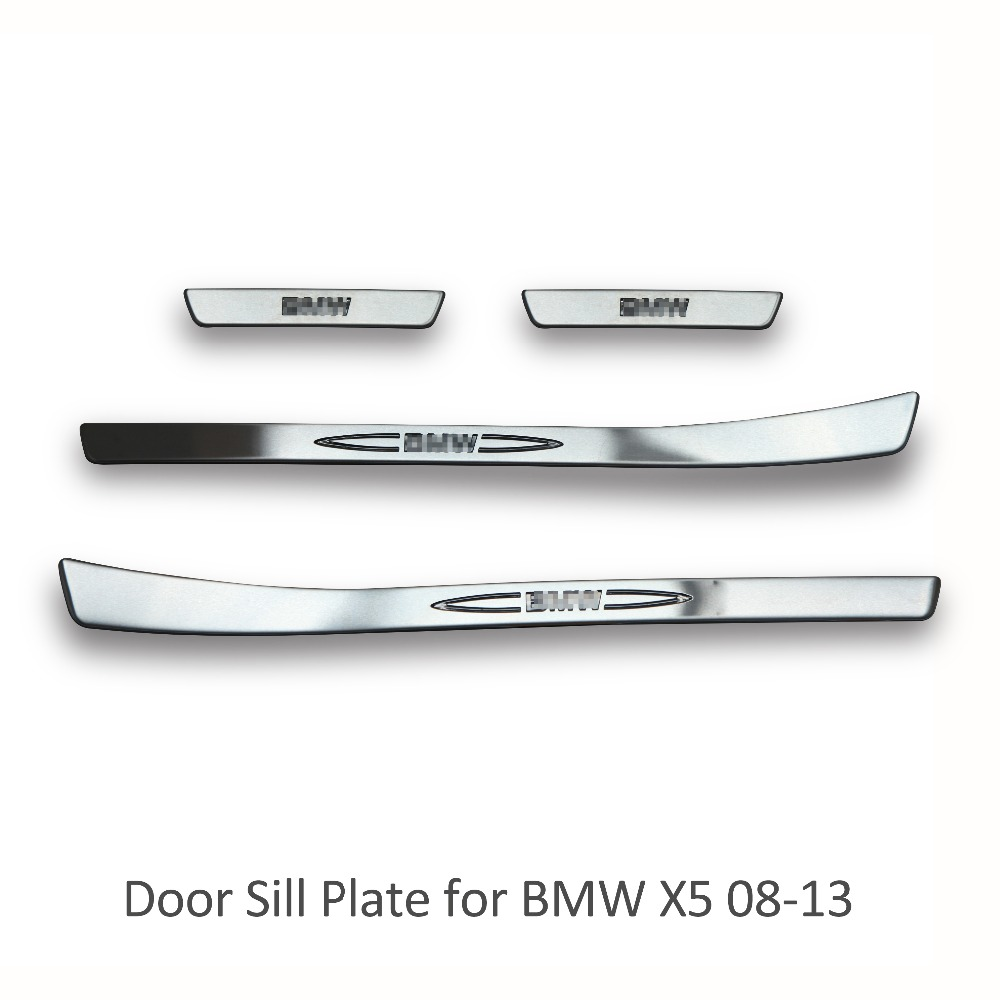 High Quality Car styling LED Stainless Steel Inside Door Sill Scuff Plate For BMW X5 2008-2013 Free Shipping