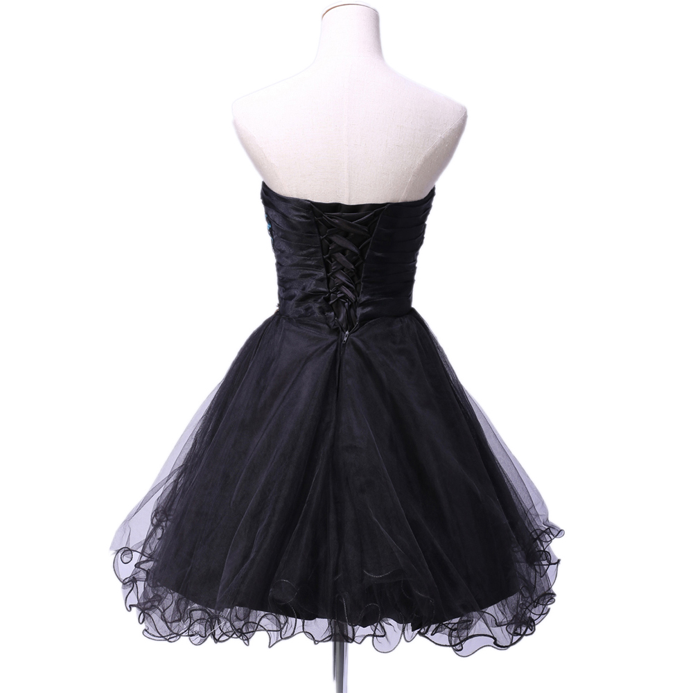 Sexy Tulle Ball Gown Embroidery Peacock Cocktail Dress Black White ...