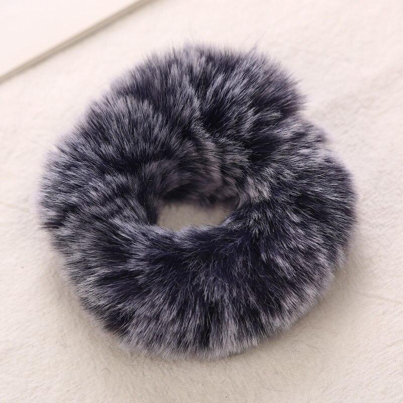 AIKELINA/Новинка; зимняя теплая мягкая резинка для волос из искусственного кроличьего меха для девочек и женщин; аксессуары для волос; Детская резинка; головной убор - Цвет: Navy