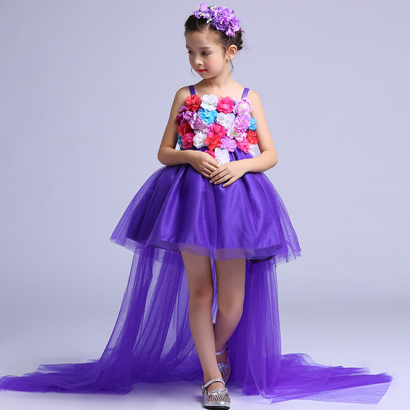 Long Tailed Formal Girls Dress Wedding Long Back Purple Flower Girl Vestido 2017 Gilrs Clothes 6 8 10 12 14 Years Old RKF174034 girls champagne short front long back flower girl dress for wedding trailing formal party vestidos girls clothes 2017 skf154024