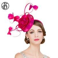 FS невесты Элегантный Роуз цветочные свадебные Дерби фетровых шляпа 100% лен летом Для женщин Pillbox Шапки дамы официальная Вечеринка шапки