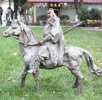 China Pure Bronze Guan Gong God of war Buddha Ride Horse Abstract Statue