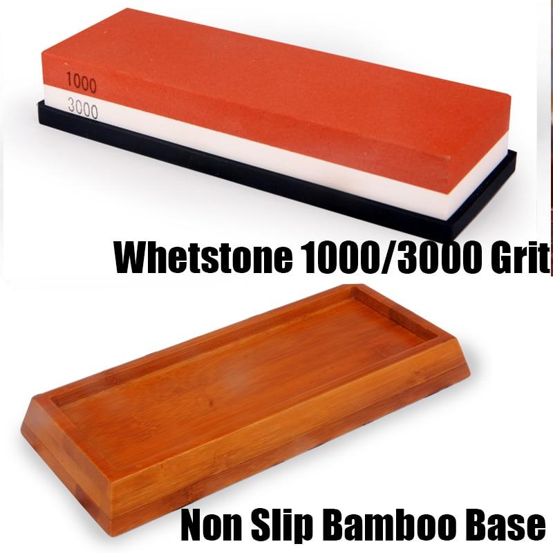 Non Slip Bamboo Base Double-side whetstone knife sharpener kitchen tools honing sharpening for a knift stone stoning grinder