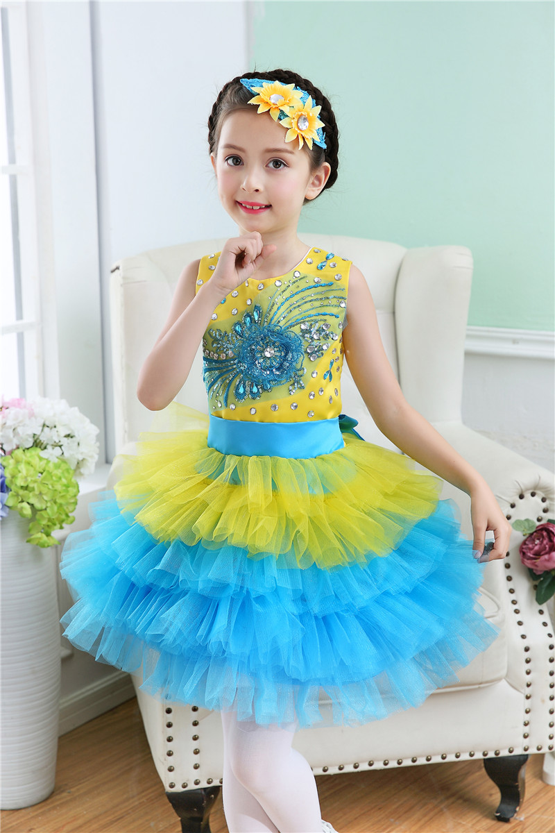 Rhinestone Beaded Formal Party Dress for 2 To 12 Years Kids  Children Princess Flower Girl Gown Kid Gown Prom Dress for Girls wholesale boy girl floral beauty skullies colored rhinestone flower style luxury winter hats for children 3 12 year kid beanies