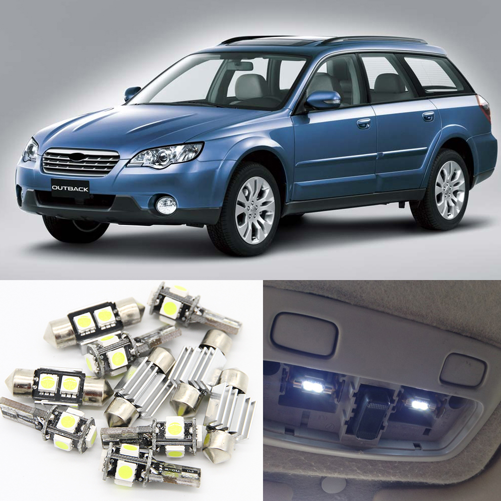 10pcs White Car LED Light Bulbs Interior Package Kit For 2000-2009 Subaru Outback Map Dome Trunk Door License Plate Light Lamp