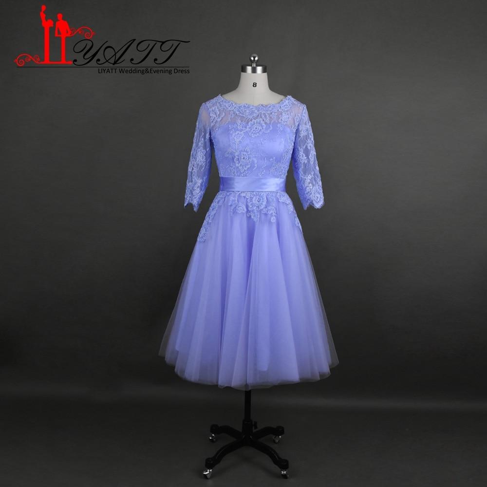 New 2017 Lilac Short Lace Bridesmaid Dresses A line illusion Neck ...