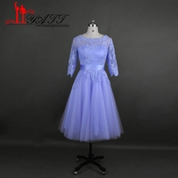 New 2016 Lilac Short Lace Bridesmaid Dresses A Line Illusion Neck Half Sleeves Formal Prom Party