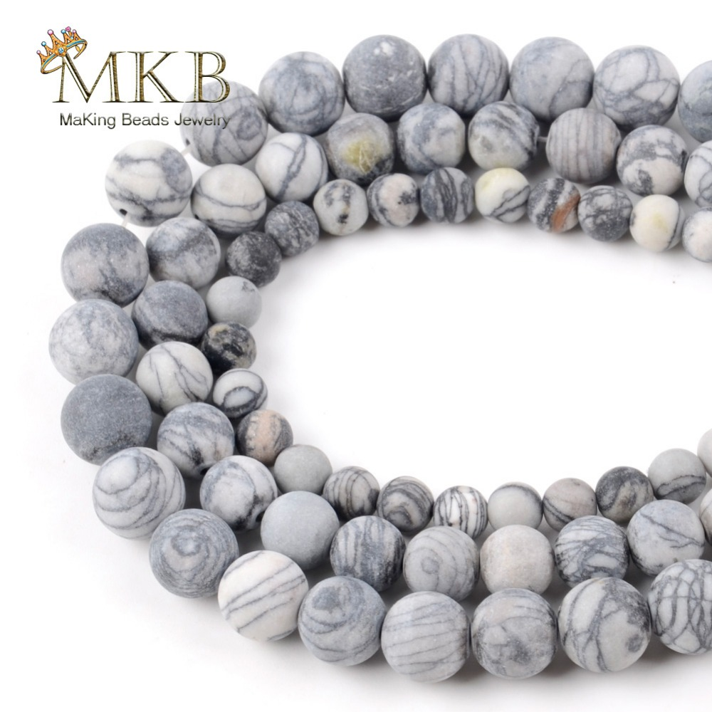 Natural Stone Matte Black Web Spider Jaspers Round Beads For Jewelry Making 6/8/10/12mm 15inches Wholesale Perles Bijoux
