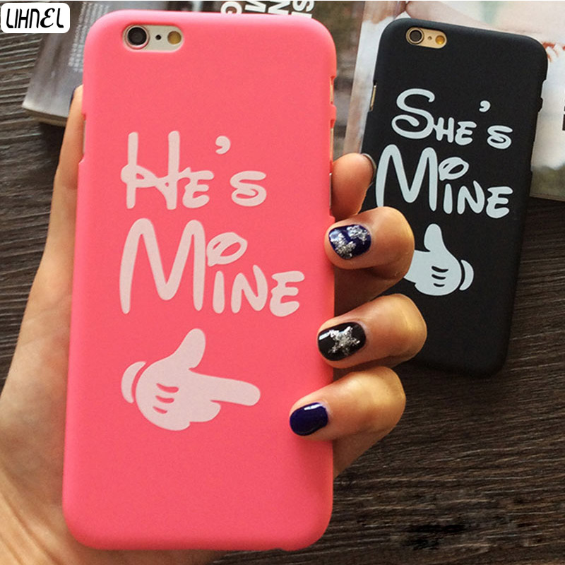 Valentine Gift Cases He is mine She is mine PC Matte Hard Lover Couple Case for iphone 5 5S 6 6S 6 plus 6S plus Free Shipping