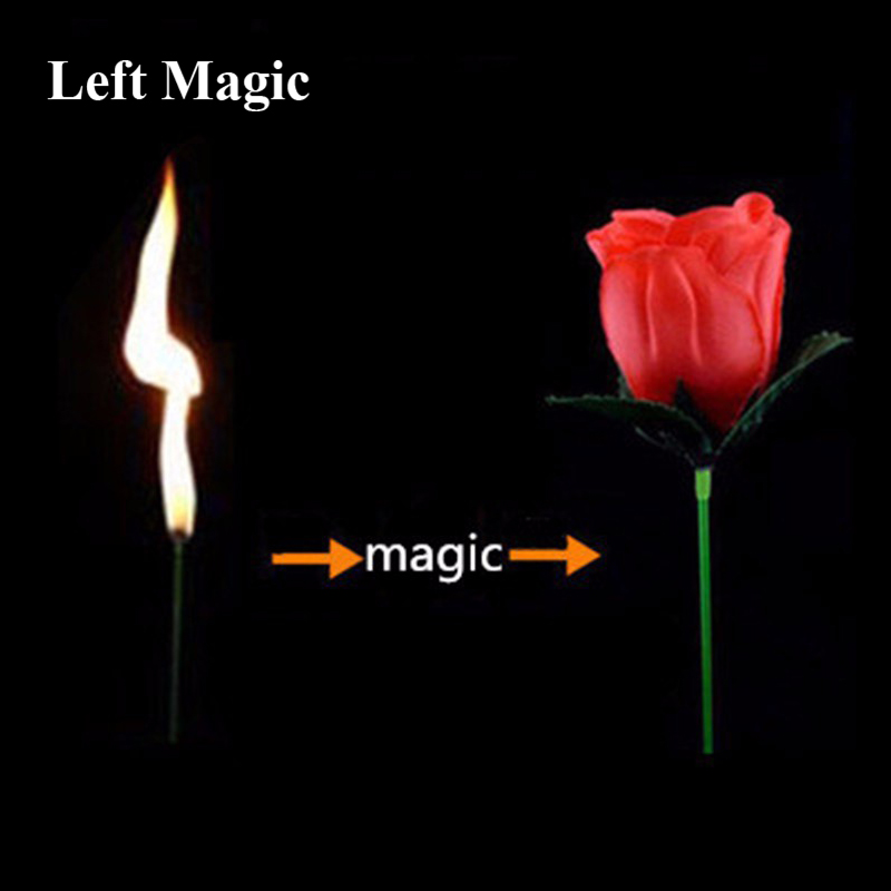2 PCS Torch To Flower-Torch To Rose-Fire Magic Trick Flame Appearing Flower Professional Magician Bar Illusion Stage Props G8156