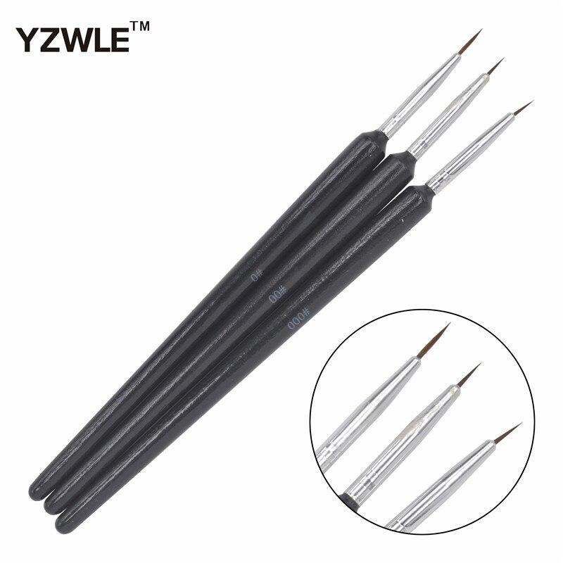 YZWLE 3PCS/1Set Kolinsky Acrylic Nail Brush Professional Brushes Nail Tools Fashion Nail Art Brush For Manicure 14