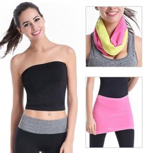 Ladies Stretch Bra Wrap Yoga Tops Sports Running Women Wrapped Chest Boob Tube Bra Bandeau