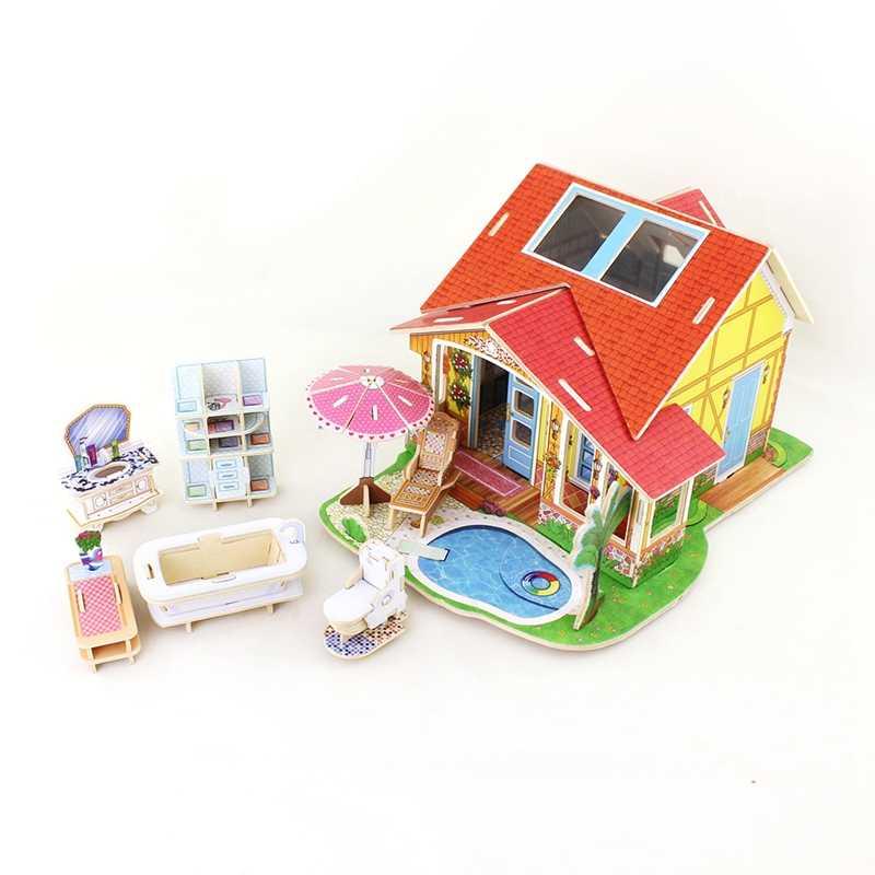 Robud сборки деревянный Ванная комната Миниатюрный Кукольный дом Мебель внутри Игрушечные лошадки хобби Конструкторы кукольный домик для детей 56