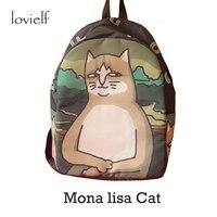 Lovielf Nieuwigheid Speciale patroon Ontwerp Leuke Creatieve Canvas Monalisa Mona lisa Kat Rugzakken Kitty grote Cool Reizen Schooltassen
