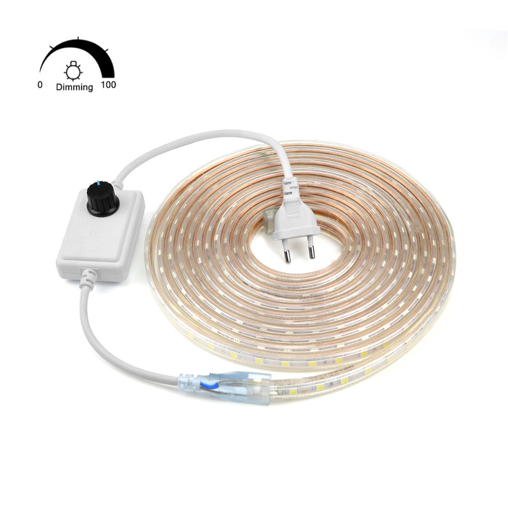 Outdoor Lighting Dimmer: Dimmable Waterproof 220V LED Strip With EU Plug 5050 SMD