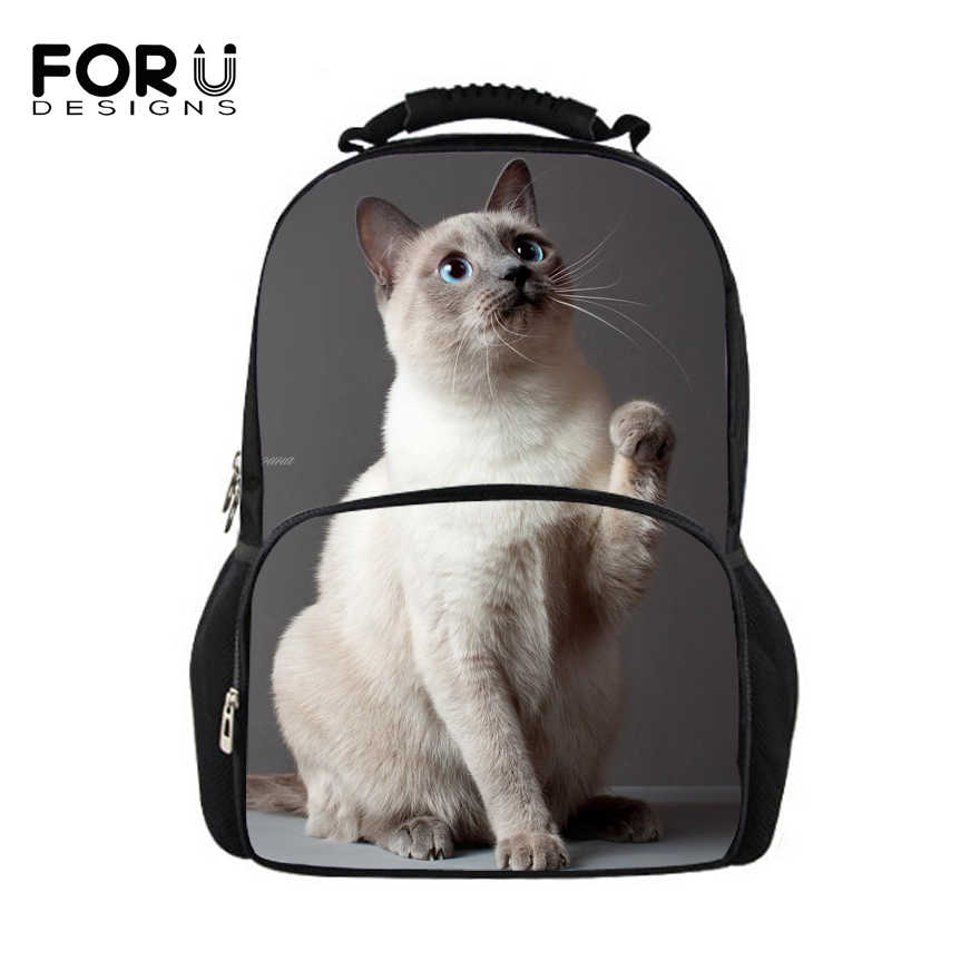 FORUDESIGNS Siamese Cats Backpacks Fashion Women School Backpack for Teenager Girls 3D Daypack Female Casual Laptop School Bags