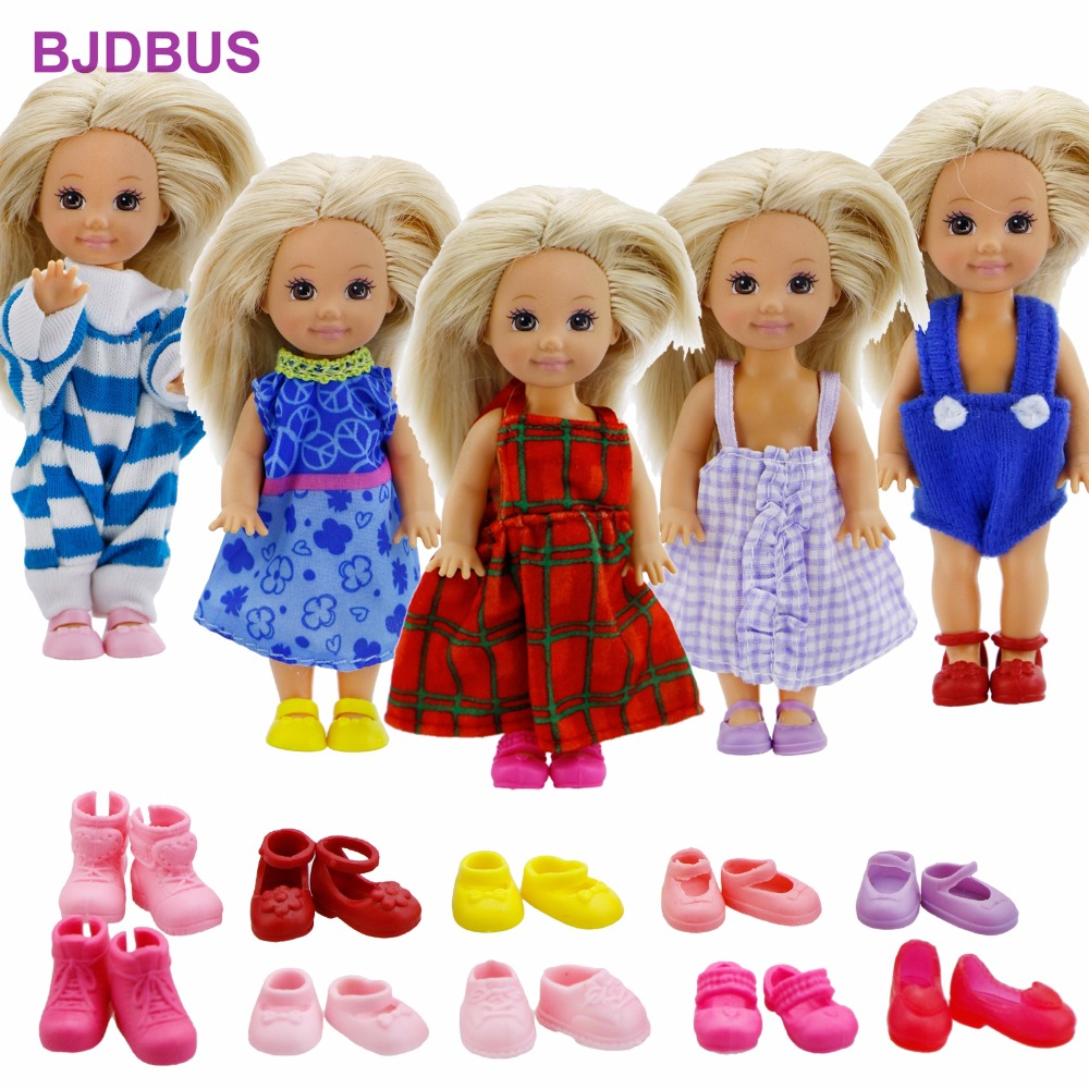 Random 10 Pcs / Lot = 5x Mixed Style Outfits Cute Dress + 5x Colorful Shoes Clothes For Barbie Doll Sister Kelly Accessories Toy